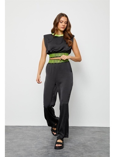 Setre Siyah Crop Bluz Palazzo Pantolon Takım Siyah